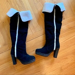 Kelsi Dagger Suede OTK Boots Shearling Lined 8.5